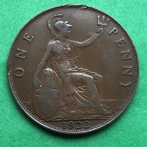 LOT I2418 UK 1922 GREAT BRITAIN ONE PENNY    KING GEORGE VO