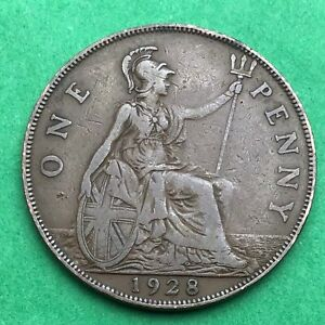 LOT I2419 UK 1928 GREAT BRITAIN ONE PENNY    KING GEORGE VO