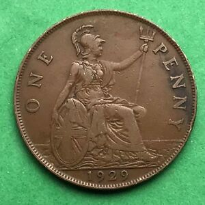 LOT I2420 UK 1929 GREAT BRITAIN ONE PENNY    KING GEORGE VO