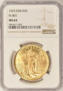 1925 DDR FS 801 $20 SAINT GAUDENS GOLD DOUBLE EAGLE COIN NGC MS63