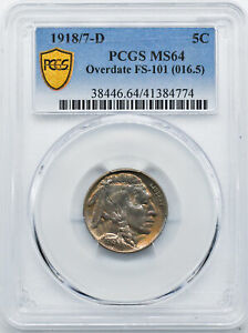 Click now to see the BUY IT NOW Price! 1918/7 D BUFFALO 5C PCGS MS 64