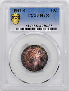 Click now to see the BUY IT NOW Price! 1901 S BARBER 25C PCGS MS 65