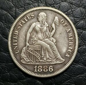 SILVER 1886 S SEATED LIBERTY 10 CENTS DIME | XF CONDITION