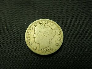 1897 LIBERTY V  NICKEL  US BARBER TYPE OLD US COIN  OBSOLETE TYPE