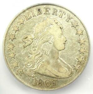 1805 DRAPED BUST HALF DOLLAR 50C COIN   CERTIFIED ICG XF40  EF40     DATE