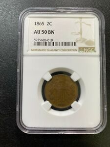 1865 TWO CENT PIECE NGC AU 50   ABOUT UNCIRCULATED   TYPE   CERTIFIED SLAB   2C