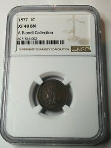 1877 INDIAN HEAD CENT   NGC XF40   W/DIE CLASH REV ERROR. A NICE  COIN