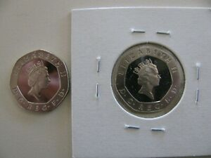 2 GREAT BRITAIN PROOF LIKE 20 PENCE COINS 1991 1997 BEAUTIES