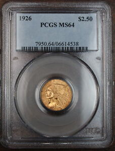 Click now to see the BUY IT NOW Price! 1926 GOLD $2.5 INDIAN QUARTER EAGLE PCGS MS 64