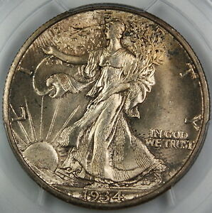 Click now to see the BUY IT NOW Price! 1934 S WALKING LIBERTY SILVER HALF DOLLAR PCGS MS 64  GEM BU  TONED COIN