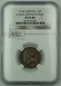 Click now to see the BUY IT NOW Price! 1714 GREAT BRITAIN 1/4P COIN  FARTHING  S 3625 COPPER PATTERN NGC XF 45 BN AKR