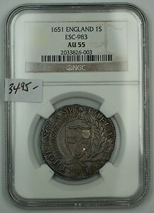 Click now to see the BUY IT NOW Price! 1651 ENGLAND 1 SHILLING SILVER COIN ESC 983 NGC AU 55 ALMOST UNCIRCULATED AKR