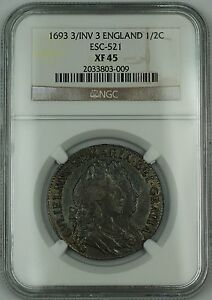 Click now to see the BUY IT NOW Price! 1693 3/INV 3 ENGLAND 1/2C HALF CROWN COIN ESC 521 WILLIAM & MARY NGC XF 45 AKR