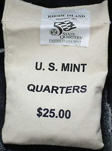 Click now to see the BUY IT NOW Price! $25 US MINT SEWN BU 2001 D RHODE ISLAND STATE QUARTERS BAG ORIGINAL PACKAGING