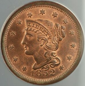 Click now to see the BUY IT NOW Price! 1852 BRAIDED HAIR LARGE CENT 1C ANACS MS 66 RB RED BROWN  GEM BU
