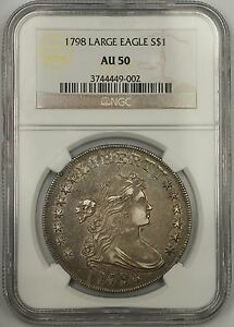 Click now to see the BUY IT NOW Price! 1798 $1 LARGE EAGLE SILVER DOLLAR COIN NGC CHOICE AU 50 B23 BB105  EDS