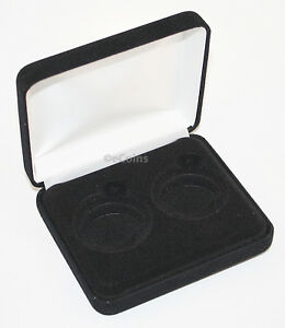 BLACK FELT COIN DISPLAY GIFT METAL DELUXE PLUSH BOX HOLDS 2 HALF DOLLARS US JFK