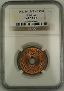 Click now to see the BUY IT NOW Price! 1942 PALESTINE 10M TEN MILS BRONZE COIN NGC MS 64 RB RED BROWN  MOSTLY RED