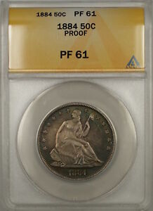 1884 PROOF SEATED LIBERTY SILVER HALF DOLLAR 50C ANACS PF 61  BETTER COIN