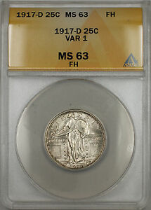 Click now to see the BUY IT NOW Price! 1917 D STANDING LIBERTY 25C ANACS MS 63 VARIETY 1 FULL HEAD  BETTER COIN 11