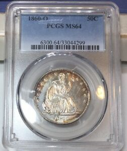 Click now to see the BUY IT NOW Price!    1860 O 50C LIBERTY SEATED HALF DOLLAR PCGS MS 64 LOVELY COIN