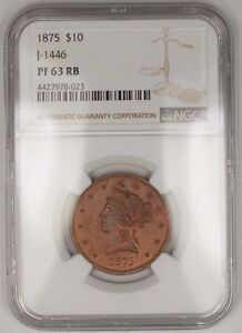 Click now to see the BUY IT NOW Price! 1875 $10 LIBERTY COPPER EAGLE PROOF PATTERN COIN J 1446 NGC PF 63 RB NOT GOLD WW