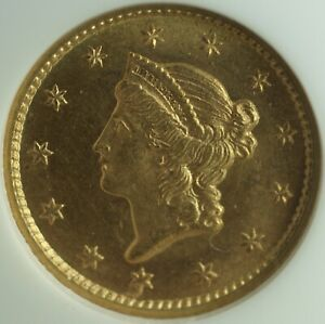 Click now to see the BUY IT NOW Price! 1852 LIBERTY $1 DOLLAR TYPE I US GOLD COIN NGC MS 66 GEM BU UNC