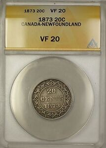 Click now to see the BUY IT NOW Price! 1873 CANADA NEWFOUNDLAND 20C TWENTY CENTS SILVER COIN ANACS VF 20