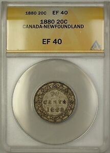 Click now to see the BUY IT NOW Price! 1880 CANADA NEWFOUNDLAND 20C TWENTY CENTS SILVER COIN ANACS EF 40