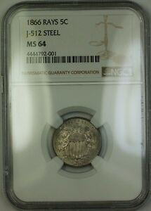 Click now to see the BUY IT NOW Price! 1866  UNIQUE  SHIELD NICKEL RAYS PATTERN PROOF STEEL 5C NGC MS 64 J 512 JUDD WW