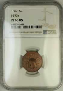 Click now to see the BUY IT NOW Price! 1867 SHIELD NICKEL PATTERN PROOF 5C NGC PF 63 BN J 573A JUDD WW