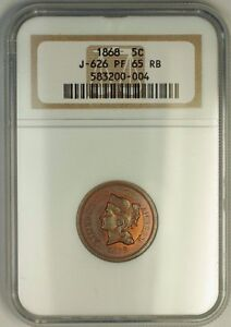 Click now to see the BUY IT NOW Price! 1868 NICKEL PATTERN GEM PROOF 5C COIN NGC PF 65 RB TONED J 626 JUDD WW