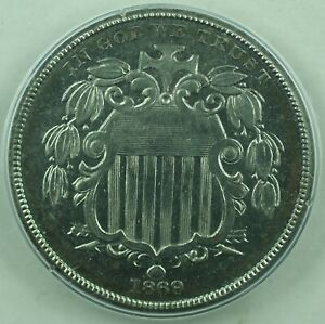 Click now to see the BUY IT NOW Price! 1869  UNIQUE  SHIELD NICKEL PATTERN 5C COIN PCGS PR 61 OGH RATTLER J 689 JUDD WW