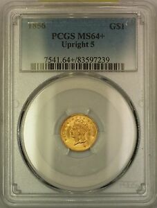 Click now to see the BUY IT NOW Price! 1856 UPRIGHT 5 $1 ONE DOLLAR GOLD COIN PCGS MS 64   EVER SO CLOSE TO GEM