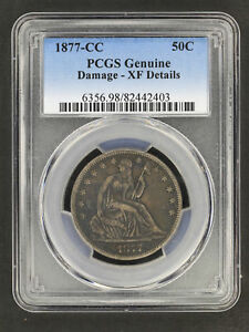 1877 CC SEATED LIBERTY SILVER HALF DOLLAR PCGS XF DETAILS DAMAGE  158705