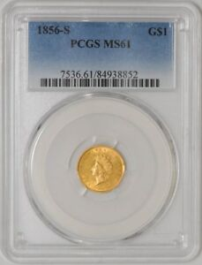 Click now to see the BUY IT NOW Price! 1856 S $ GOLD INDIAN DOLLAR MS61 PCGS