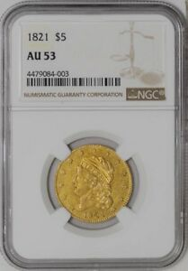 1821 $5 GOLD CAPPED BUST AU53 NGC