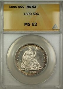 1890 SEATED LIBERTY SILVER HALF DOLLAR 50C ANACS MS 62  BETTER COIN PL  DJ