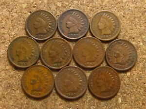 1900 1901 1902 1903 1904 1905 1906 1907 1908 1909 INDIAN HEAD CENT PENNY LOT