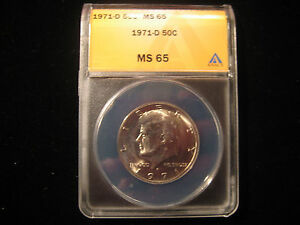 1971 D KENNEDY HALF DOLLAR ANACS MS65