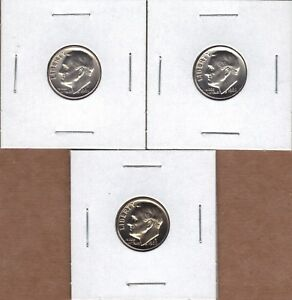 1969 P & 1969 D UNCIRCULATED & 1969 S PROOF ROOSEVELT DIMES  3 COIN LOT  .