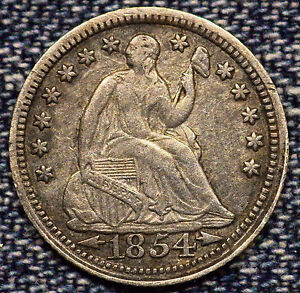 1854 SEATED LIBERTY HALF DIME ARROWS XF  COIN