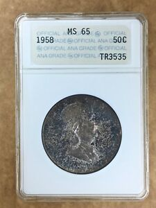 1958 FRANKLIN HALF 50 BLUE TONING ANACS MS65 1ST GENERATION TYPE II ANA HOLDER