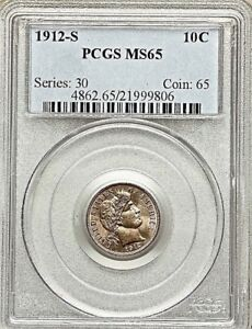 Click now to see the BUY IT NOW Price! 1912 S 10C BARBER DIME E.GARDNER PCGS MS65 CHAMPAGNE TONES POP. 19 POP. FINER 13