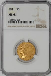1911 $5 GOLD INDIAN MS61 NGC