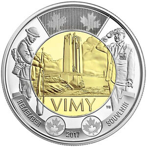 2017 CANADA VIMY RIDGE 1917 2017 COMMEMORATIVE TOONIE FROM ROLL