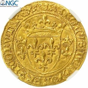 Click now to see the BUY IT NOW Price! [490856] FRANCE CHARLES VII ECU D'OR 1445 LYON NGC AU58 GOLD GRADED