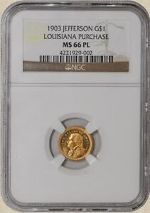 Click now to see the BUY IT NOW Price! 1903 $1 JEFFERSON GOLD DOLLAR LOUISIANA PURCHASE MS66 PL PROOF LIKE NGC