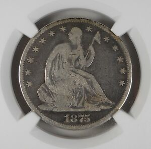 1875 CERTIFIED VG 8 NGC GOOD SEATED LIBERTY HALF DOLLAR SILVER COIN V 230