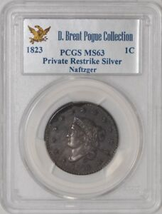 Click now to see the BUY IT NOW Price! 1823 MATRON HEAD CENT RESTRIKE SILVER MS63 PCGS R.7   LY